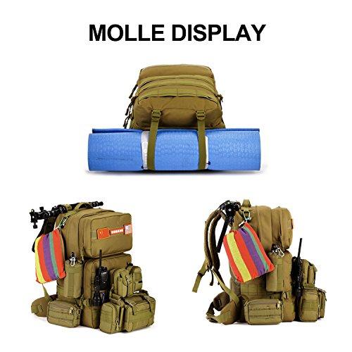 SUNVP 55L Tactical Molle Rucksack Military Assault Pack Rucksack Gro?e wasserdichte Tasche zum Wandern Camping Trekking Black