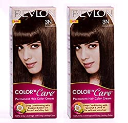 REVLON COLOR N CARE PERMANENT HAIR COLOR CREAM DARKEST BROWN 3N (Pack of 2)