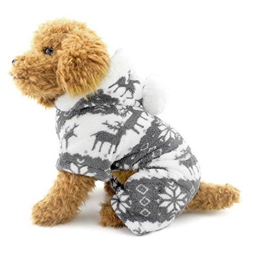 SELMAI Pijamas para Perros Pequeños con Capucha Terciopelo de Renos Puppy Jumpsuit Abrigo Sudadera Sudadera Doggie Kitten Chihuahua Yorkie Ropa Outfits Gris L