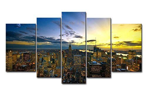 ür Home Decor NEW YORK in Sunup 5Stück Gemälde Moderne Giclée-gespannt und gerahmt Artwork Öl der City Bilder Foto Prints auf Leinwand (Das Empire Hotel New York Halloween)