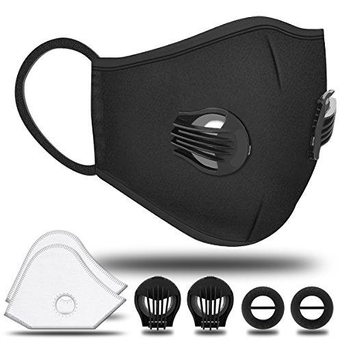Staubschutzmaske Atemschutzmaske NASUM Staubmaske Aktivkohle Mundschutzmaske, Staubschutz Doppelventil Anti-Milbe, PM2.5, N95 Schutzstufe Maske für Sport und Outdoor-Aktivitäten staubdicht