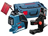Bosch Professional GLL 3-80 P Kreuz-Linienlaser mit 3 Linien 360° Projektion, 40 m Arbeitsbereich (ohne Empfänger) mit Laserzieltafel, Schutztasche, Halterung, L-Boxx