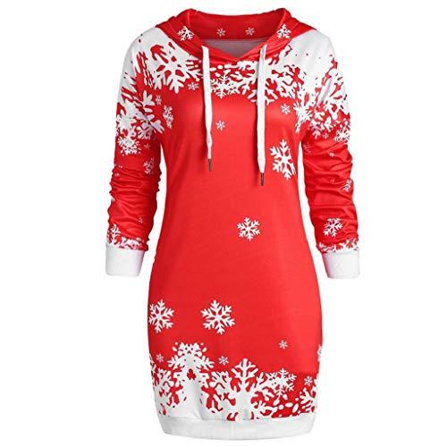 Rovinci Damen Mode Pullover Hoher Kragen Langarm T-Shirt Sweatshirt Schneeflocke Drucken Pulli Rollkragen Weihnachten Festlich Tops Langarmshirt Bluse Hemd Oberteil Jumper Slim Fit Longshirt