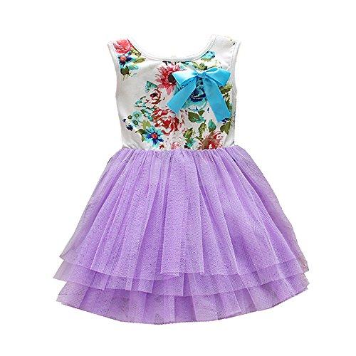 Tutu Kleid Girl Prinzessin süße mini Spitze Party Flower Gewand Tüll Rock für Kinder Gr. 90 cm, violett
