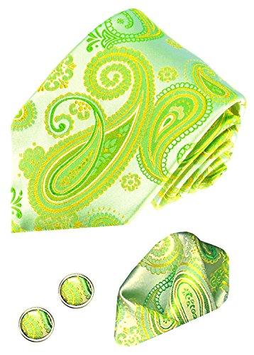 LORENZPO CANA - 3er Marken Set aus 100% Seide Grün Krawatte Manschettenknöpfen Einstecktuch Paisleymuster 8439005