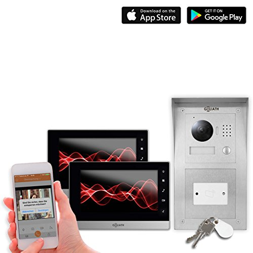 Goliath IP Video Türsprechanlage 2 Monitore, Aufputz RFID Türstation, Edelstahl, HD Kamera, App,...