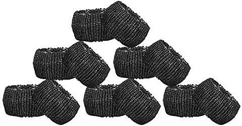 Serviettenringe Perlen Set 12 schwarze Glasperlenhalter Vintage Aushöhlung - 6,4 cm