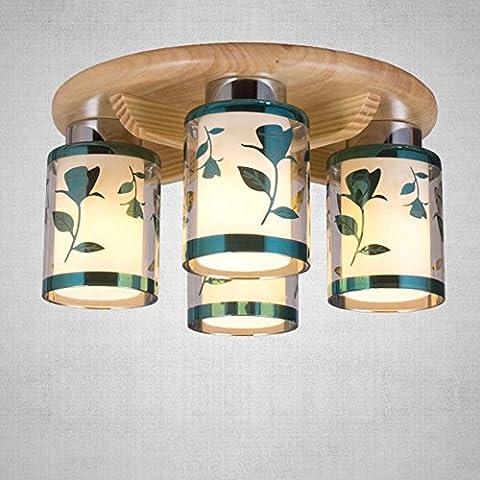 KYDJ ® Chinoise Moderne en bois rond Lampe en verre Lampe de plafond en bois Chambre à manger Plafonnier --Plateau de plafonnier chaud