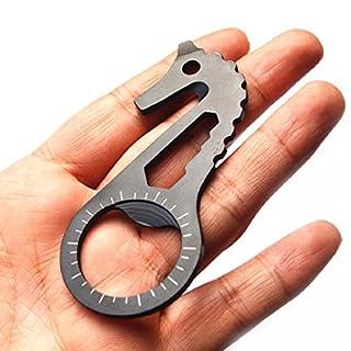 Culater® Outdoor rostfrei Schädel EDC Überleben Miniwerkzeuge Edelstahl Multifunktionale hippocamp Taschenring schwarz