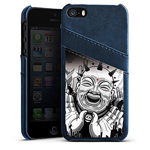 Apple iPhone 5 Housse Étui Silicone Coque Protection Noir et blanc Art Noir blanc Étui en cuir bleu marine