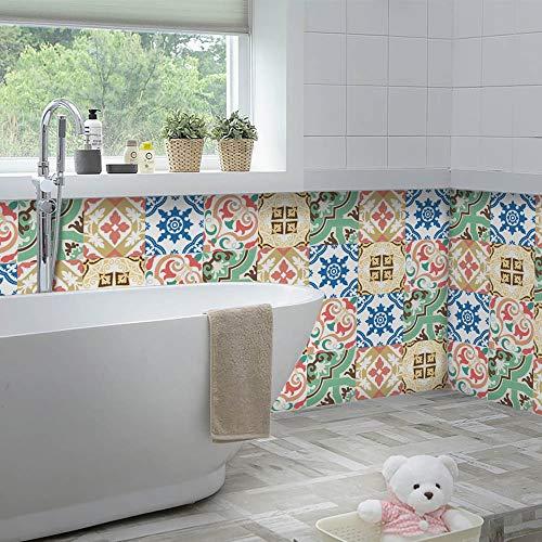 Yoillione Vintage Fliesenaufkleber Küche Fliesen Folie Selbstklebend,Fliesenfolie Marokkanisch Fliesenaufkleber Spanisch,Mosaik Fliesensticker Badezimmer Fliesenfolie 20x20CM
