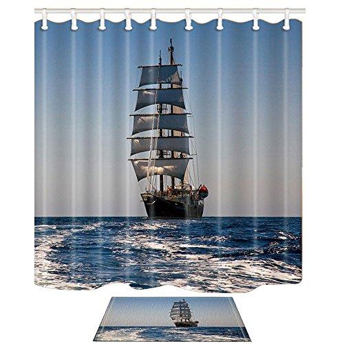 Kotom tende da bagno nautiche e tappetini per bagno, una grande barca a vela sul mare, tende da bagno in tessuto impermeabile 69x70 pollici e flanella tappetino da bagno per pavimenti interni in flanella 60x40cm