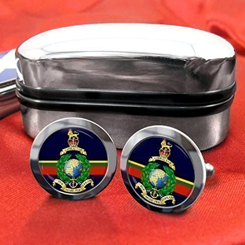 Royal Marines Mens Cufflinks with Chrome Gift Box