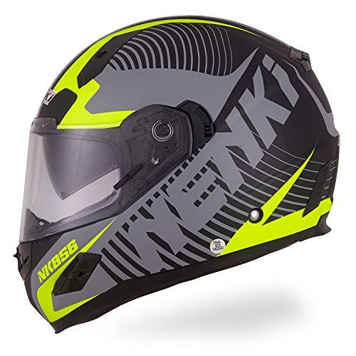 NENKI Motorradhelm Integralhelm Damen und Herren NK-856, Glasfaser Schale,ECE-geprüft, mit Doppelvisieren(Mattschwarz Neongelb-L)