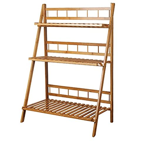 3-Tier Bamboo Flower Stand Foldable Balcony Plant Stand Multi-Function Shelves ( Size : 50cm )