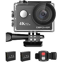 Action Cam, DBPOWER 4K Sports Action Kamera WIFI 2.0 Zoll FHD LCD Display Wasserdicht Helmkamera mit 2 Verbesserten Batterien und Zubehör Kits(Black)
