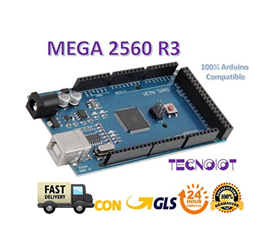 TECNOIOT Mega 2560 R3 Tarjeta Mega 2560 Placa con Microcontrolador Basada en el ATmega2560 ATMEGA16U2 Placa de Desarrollo Compatible con Arduino Mega Kit