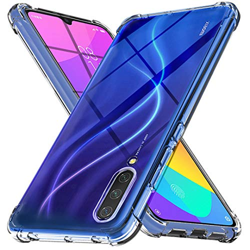 Ferilinso Funda para Xiaomi Mi 9 Lite Funda,[Reforzar la versión con Cuatro Esquinas][Funda Protectora de la cámara] Funda Protectora de Silicona de Piel de Goma TPU a Prueba de Goma (Transparente)