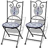 Roderick Irving Mosaik Bistrostühle 2er Set Dekostühle Klappstühle Eisenstuhl Garten Mosaikstühle Gartenstühle Weiß