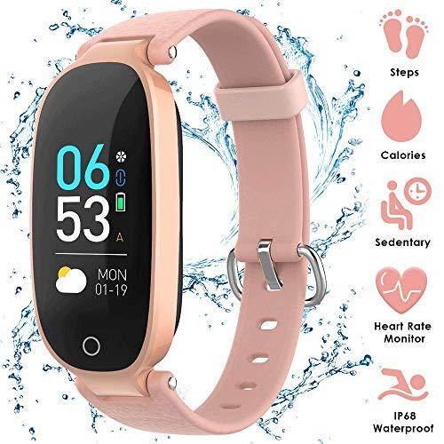 AGPTEK Fitness Tracker für Damen, IP68 Wasserdicht Fitnessarmband mit GPS Aktivitätstracker, Pulsmesser, Schrittzähler Fitness Uhr Pulsmesser Schlafmonitor Kalorienzähler, Rosagold