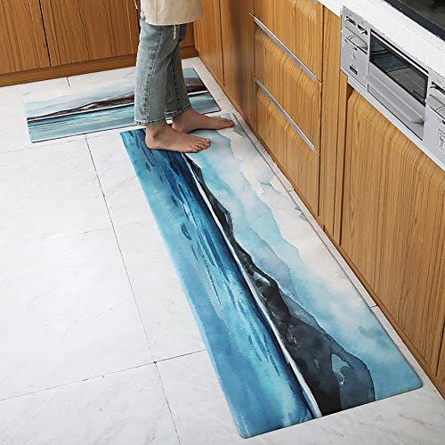 Leoie Zuhause PVC Leder Matte Wasserdicht Rutschfestes Kissen Fußpolster für die Küche The Meaning of Mountains and Rivers 45 * 150cm