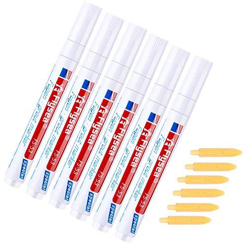 ABOAT Fugenstift, Weiß, Fugen-Reparatur-Marker mit Ersatzspitze, um das Aussehen von Fliesenfugenlinien wiederherzustellen, weiß