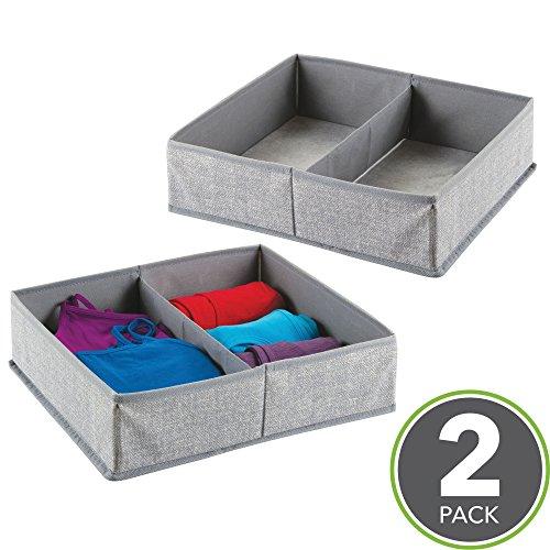 mDesign 2er-Set Stoffbox für Schrank oder Schublade, 2 Fächer – die ideale Aufbewahrungsbox (Stoff) – flexibel verwendbare Stoffkiste – grau