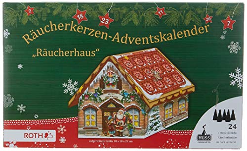 """Räucherkerzen-Adventskalender\""""Räucherhaus\"""", 24 verschiedene Räucherkerzen im Dach, Größe: 18x18x22 cm"""