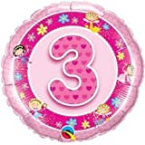 Alter 3/3. Geburtstag pink Feen Qualatex 18 Zoll Folienballon