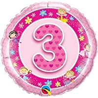 3 Jahre/3. Geburtstag pink Feen Qualatex 18 Zoll Folienballon