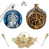 ❤ Lord Shiva & Ganesha ❤ (Brass & Silver) - Powerful - Auspicious - Blessed - Prosperous - Divine & Lucky Charm Necklace / Pendant With Chain. 3D Glass Dome Lady Hawk Designer Series 2018.