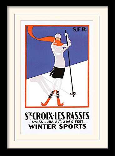 Ste. croix-les Rasses 'Vintage Werbung' montiert und gerahmt Print, Mehrfarbig, 30x 40cm