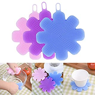 AIHOME™ Multi-function Eco-Friendly Dish Bowl Cleaning Creative Brush Heat-resistant Mat Flower Style Antibacterial Soft Silicone Vegetable Cleaner Fruit Washer Scouring Pad Pot Pan Wash Brushes Best Tool 4 Colors