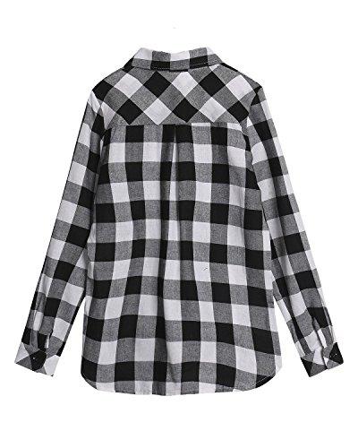 ZANZEA Femme Sexy Col V Tops Butons Chemise Carreaux Shirt Revers Blouse Hauts Chemisier Grille