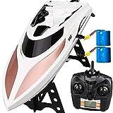Virhuck Barca RC con 2 Batterie ad Alta velocità 40 km / h, 2,4 GHz,Distanza Remota 150 m,Commutatore Farfalla, Allarme Batteria Scarica,Telecomando Elettrico Barca da Corsa per Bambini e Adulti