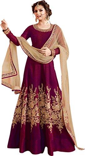 VH Fashaion banglory silk Drashti dhami weeding wear Purple anarkali suit  available at amazon for Rs.1799