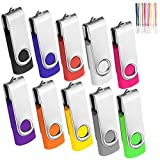 10Pack 512MB USB 2.0 Thumb Flash Drives Swivel Design Pen Memory Stick Fold Storage (10 Mixed Color With Lanyard)