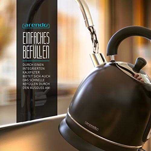 Arendo – 3000 Watt Retro Edelstahl Wasserkocher / Teekessel | 3000 Watt Leistungsaufnahme (Schnellkoch-Wasserkocher) | integrierter Kalkfilter rausnehmbar | Füllmenge maximal 1,8 Liter | automatische Abschaltung | in Schwarz - 5
