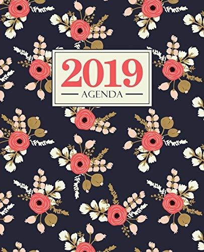 Agenda 2019: 19x23cm : Agenda 2019 semainier : Fleurs roses sur bleu 5852 par Papeterie Bleu