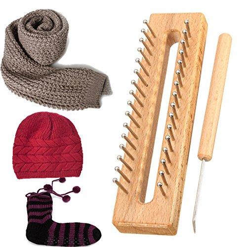 Yongse Holz Schal Hut Socken aus Wolle Garn Knitting Loom DIY Fertigkeit Holz Weaving Tools Kit (Loom Tool Knitting)