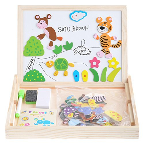 Wooden-Kids-Toy-Magnetic-Board-Puzzle-Games-100-Pieces-Satu-Brown-Double-Side-Jigsaw-Drawing-Sketchpad-Writing-Dry-Erase-Board-Chalkboard-Educational-Toys-Animal
