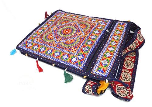 India Colors Bolso Cartera Portadocumentos Portafolios Carpeta Bolsa Partituras Regalo. Hecho a mano en India. (Azul Navy)