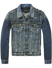 Scotch & Soda Homme Amsterdam Blauw Veste en jean Ripped, Bleu