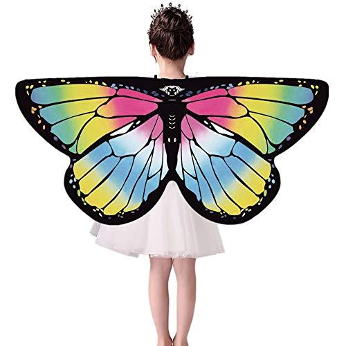 Forart Kinder Schmetterling Flügel Kostüm Maske für Mädchen Regenbogen Halloween Tier Dress Up Party Supplies (Regenbogen Schmetterlings Kostüm)