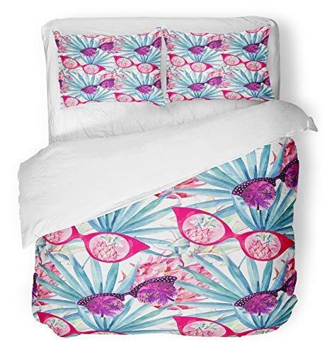 3 Stück Bettbezug-Set atmungsaktiv gebürstetem Mikrofaser Stoff Zusammenfassung Sommer Sonnenbrille mit Palm Tree Fan Blatt und Ananas auf weiß blau Bettwäsche Set mit 2 Kissenbezüge King Size