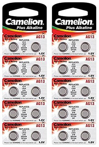 Camelion 12001013B Plus Alkaline Knopfzelle (AG13/LR44/LR1154/357, 20-er