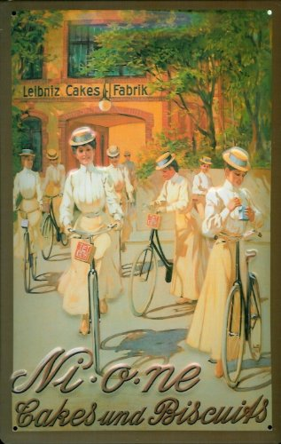 Blechschild Nostalgieschild Nione Leibniz Cakes and Biscuits Damen Fahrrad Schild Kekse Werbeschild (Vintage Fahrrad Kennzeichen)