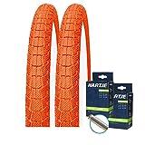 SET: 2 x Kenda Fahrrad BMX Reifen farbig K907 Krackpot ORANGE 20x1.95 + 2 SCHLÄUCHE Autoventil