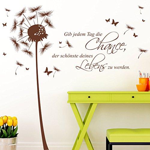 Wandtattoo Loft Wandaufkleber Pusteblume Schmetterling mit Ihrem Wunschtext