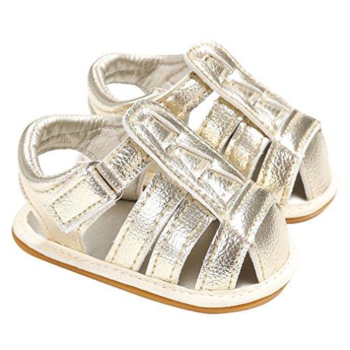 La Vogue Sandale Bébé Fille Garçon Chaussures Premier Pas Été PU Cuir Or